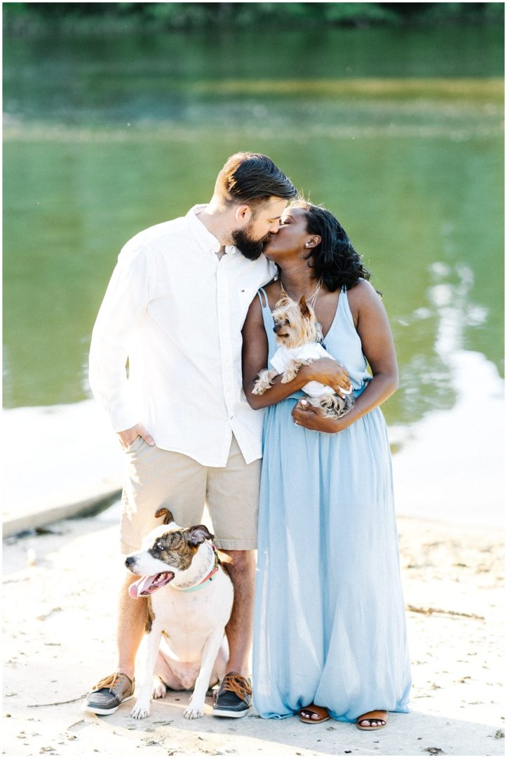 Incorporating dogs into engagement photos
