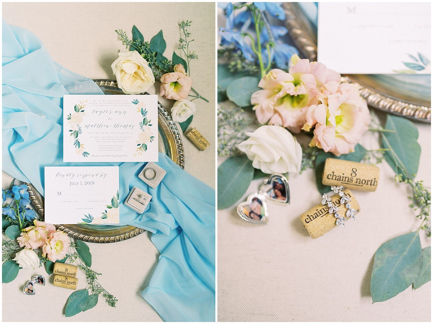 Dusty blue and pink wedding stationery details