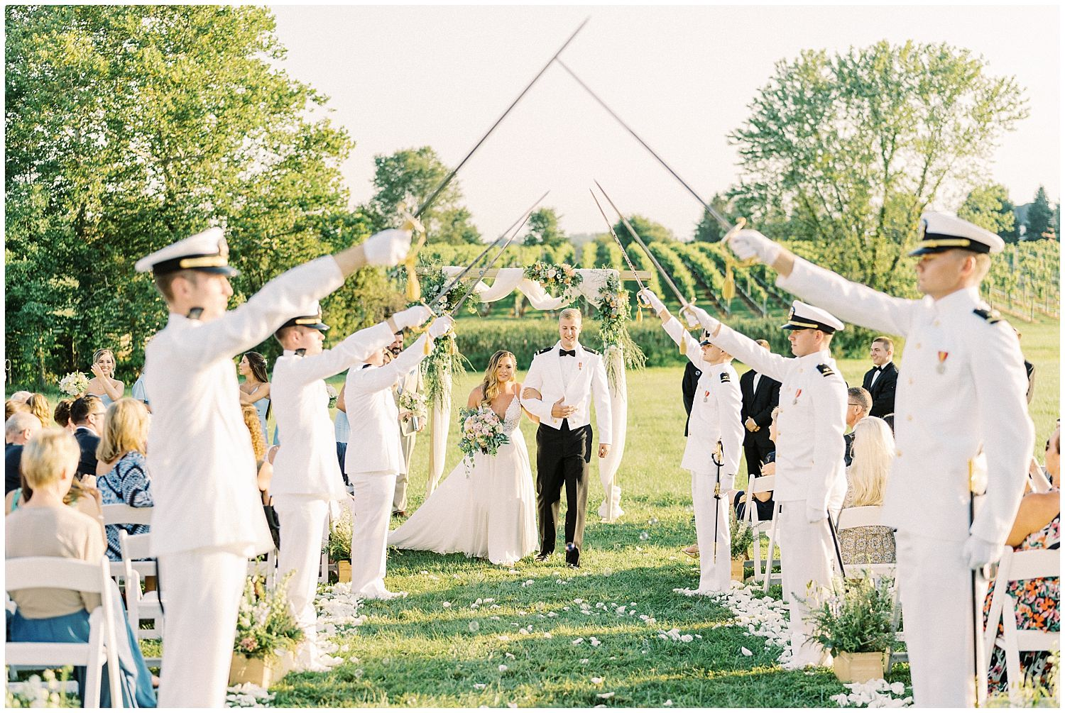 Sword arch recessional at 8 Chains North Wedding