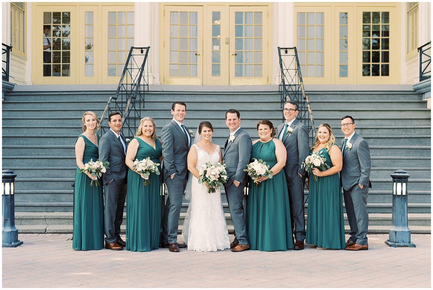 Wedding party photos at Maryland Zoo mansion house