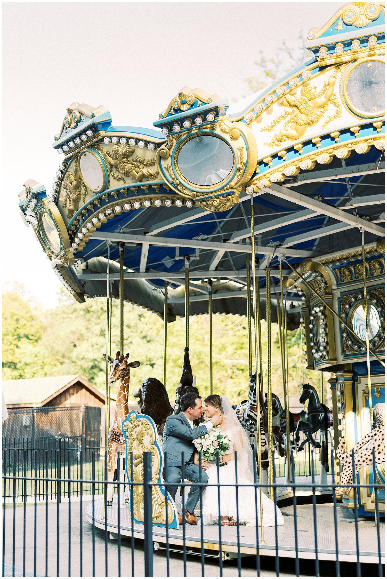 Wedding portraits at Maryland Zoo carousel
