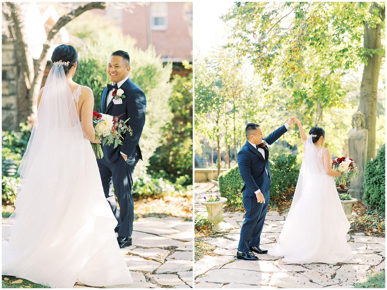 Meridian House wedding bride and groom first look in Washington DC