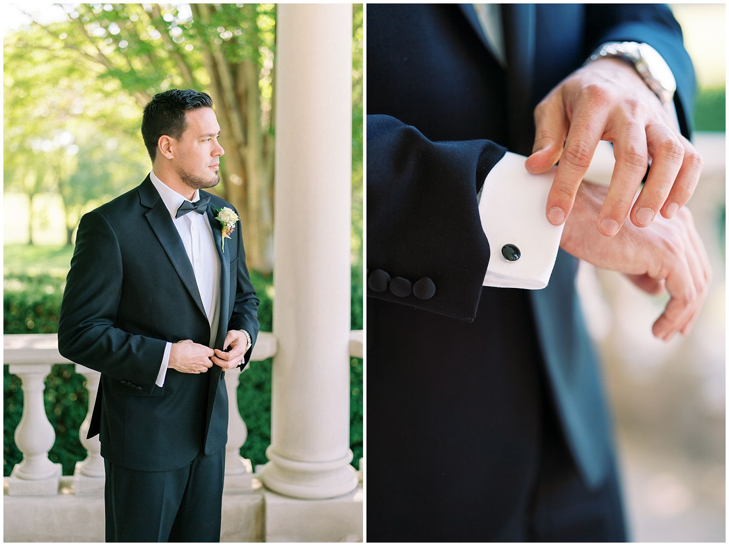 Groom getting ready at Great Marsh Estate in Bealeton, Virginia