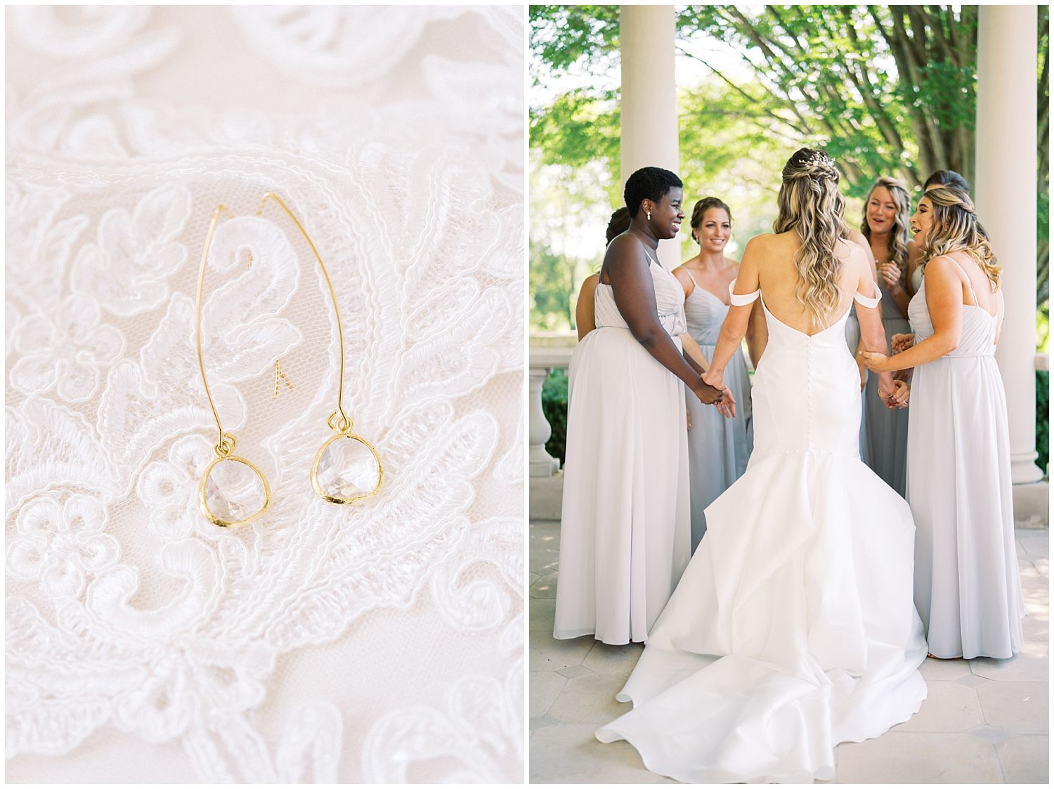 Bride first look with bridesmaids at Great Marsh Estate