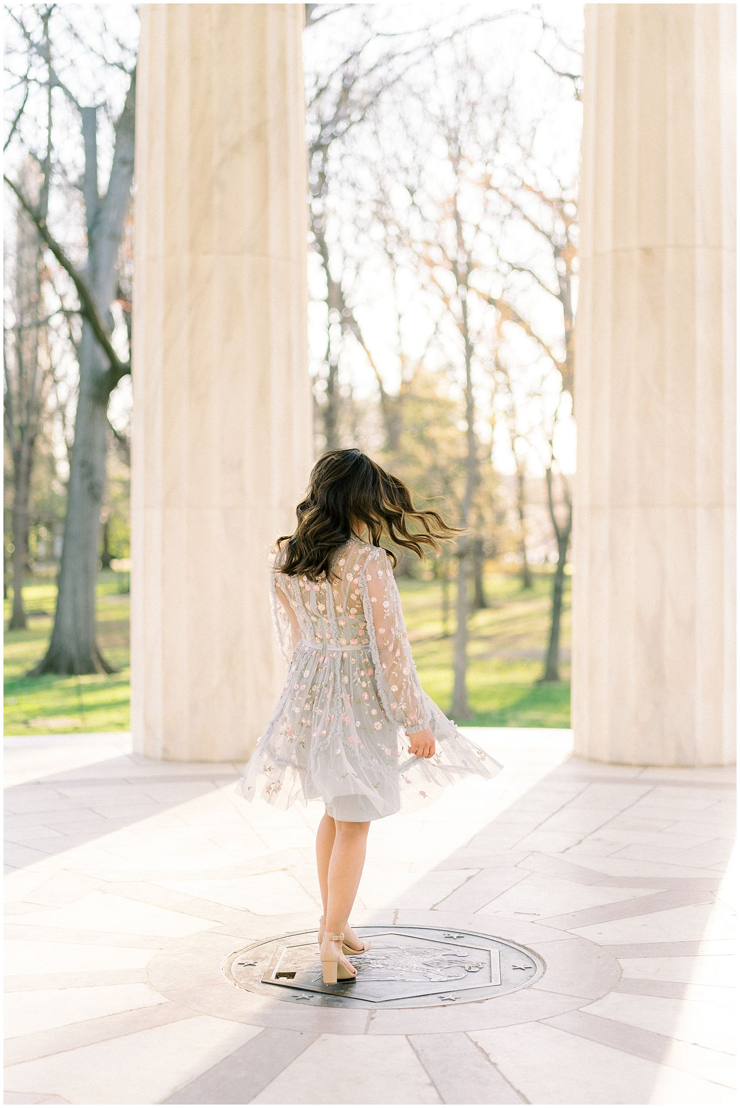 Bride-to-be at DC War Memorial Engagement Session