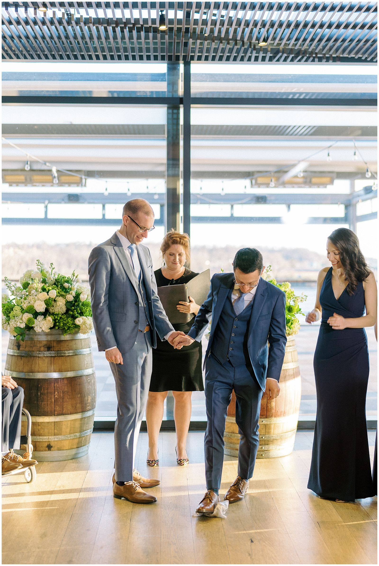 Indoor wedding ceremony at District Winery