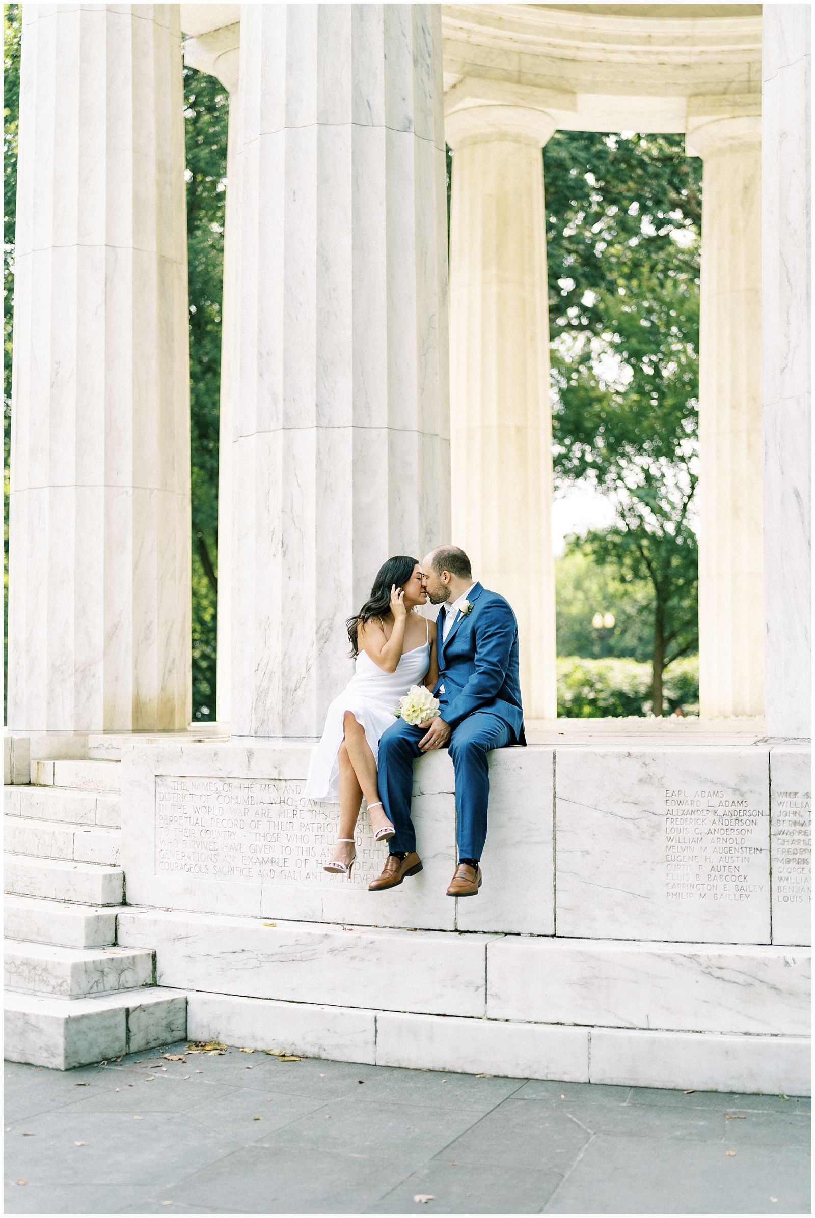 Wedding elopement at the DC War Memorial