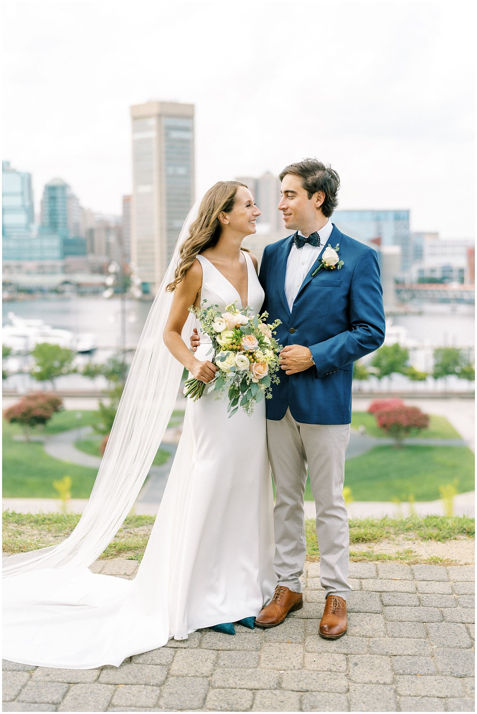 Federal Hill Park Baltimore bride & groom